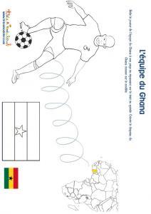 Jeu joueur equipe du Ghana son pays et son drapeau