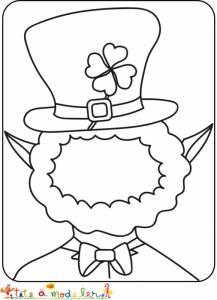 Peux-tu terminer le portrait du Leprechaun de saint Patrick ? Ajoute tous les éléments de son visage puis colorie le portrait du Leprechaun.