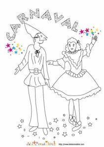 Coloriage d'une affiche de carnaval Pierrot et Colombine