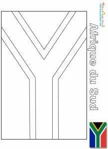 Drapeau de l'Afrique du Sud à colorier