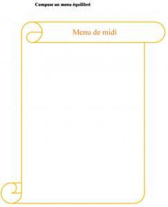 Imprimer la fiche : composer un menu équilibré