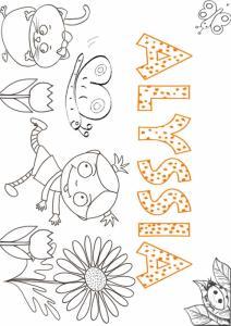 Coloriage du prénom ALYSSIA avec motif le avec Nana