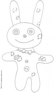 Coloriage du lapin au noeud papillon - animal patchwork