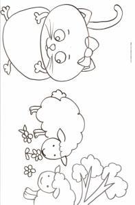 Coloriage du chat et des moutons, un coloriage tout en douceur et tout en rondeur. Dessin à imprimer pour le coloriage des enfants.