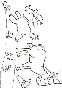 Coloriage du chien et de l'âne