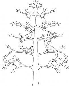 Coloriage d'un arbre de vie graphique aux 6 colombes