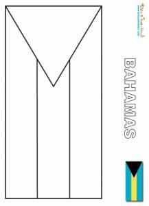 Drapeau des Bahamas, coloriage drapeau Bahamas