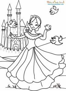 Coloriage de Blanche Neige et du chateau