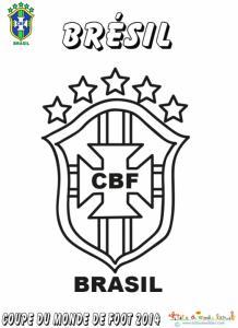 Coloriage du blason de foot du Brésil
