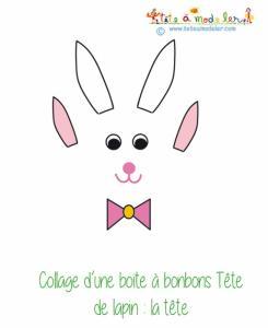 Tête de lapin pour réaliser le lapin en boite de Pâques