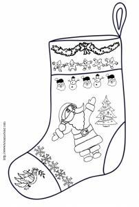 Chaussette de Noël décorée d'un Père Noël