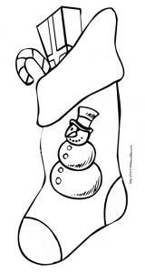 coloriage d'une botte de Noël décorée d'un bonhomme de neige
