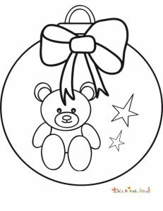 Coloriage boule ourson au noeud