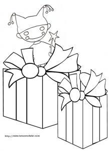 Coloriage de deux gros cadeaux et du lutin