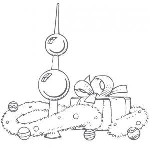 coloriage du cadeau de Noël et guirlande