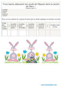 jeu de calcul de lapin de Pâques