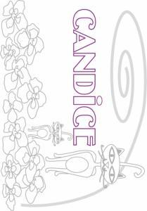 Coloriage prénom Candice - Chats et fleurs