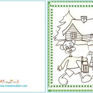 Carte cadeau à colorier : Le bonhomme et la maison