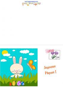 Carte du lapinou et ses oeufs Carte de Pâques a imprimer