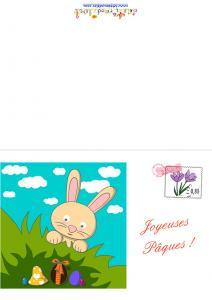 Carte de Pâques : lapin cherchant ses oeufs de Pâques