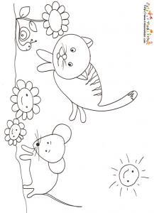 Coloriage du chat et de la souris
