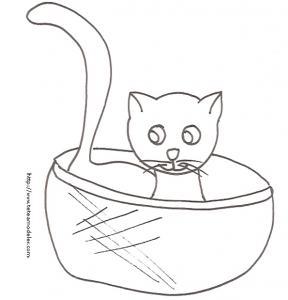 Coloriage du chat dans sa corbeille