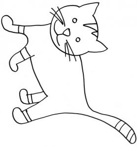 coloriage d'un chat aux pattes rayées