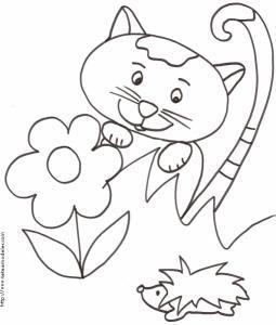 Coloriage du chat à la tache caché dans les herbes