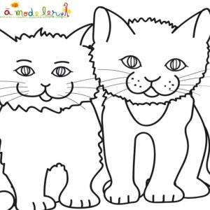 Coloriage de deux chats assis