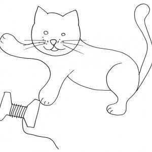 coloriage d'un chat à la bobine