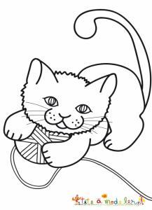 Coloriage du chat et la pelote de laine