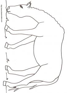 Coloriage d'un cheval qui mange