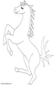 Coloriage d'un cheval piaffant sur une patte