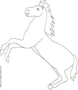 Coloriage d'un cheval sur deux pattes