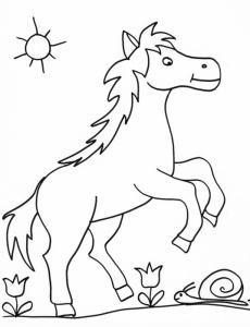 coloriage d'un cheval 5 dans les fleurs