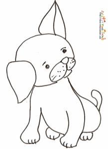 Coloriage du mignon petit chien a l'oreille dressée