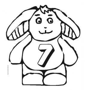 Coloriage du lapin portant le chiffre 7