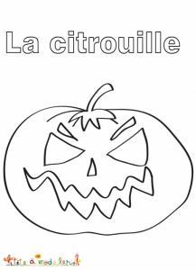 Dessin de la grosse citrouille grimaçante d'Halloween, un coloriage de citrouille à imprimer