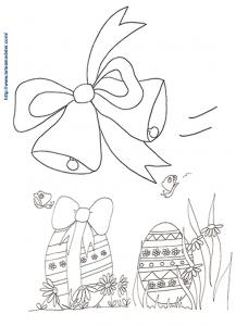Cloches de Pâques et les oeufs a colorier