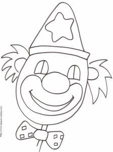 Coloriage d'une tête de clown au chapeau pointu