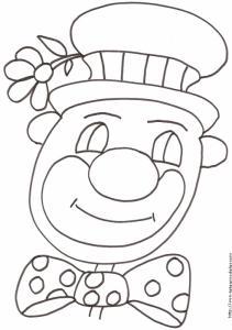 Coloriage d'une tête de clown au chapeau à fleur