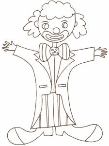 coloriage d'un clown au pantalon rayé
