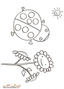 Coloriage coccinelle et fleur
