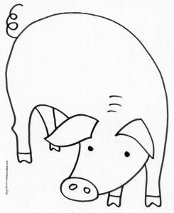 coloriage d'un cochon de la ferme