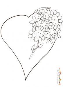 Coloriage coeur au bouquet de grosses fleurs