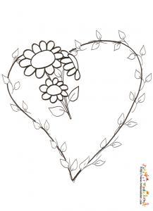 Coloriage coeur branche et fleurs