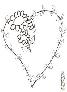Coloriage coeur branche et fleurs 2
