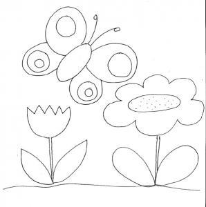Coloriage des petits : papillon et fleurs