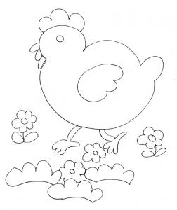 Coloriage des petits : la poulette