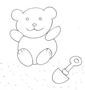 Coloriage des petits : ours et pelle